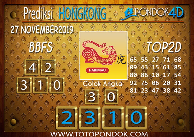 Prediksi Togel HONGKONG PONDOK4D 27 NOVEMBER 2019