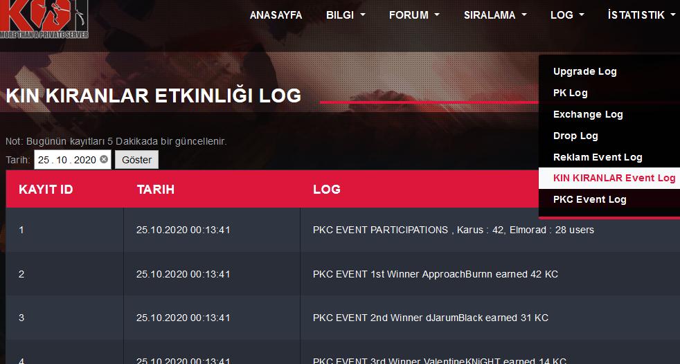 PKC ve KIN KIRANLAR event log kayıt sayfaları hizmete sunuldu