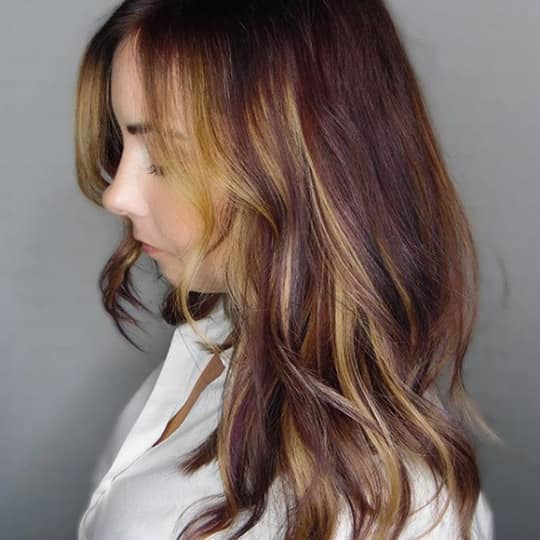 Burgundy Hair with Strawberry Blonde Highlights-strawberry-styled-hair