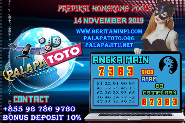 PREDIKSI TOGEL HONGKONG PALAPATOTO 14 NOVEMBER 2019