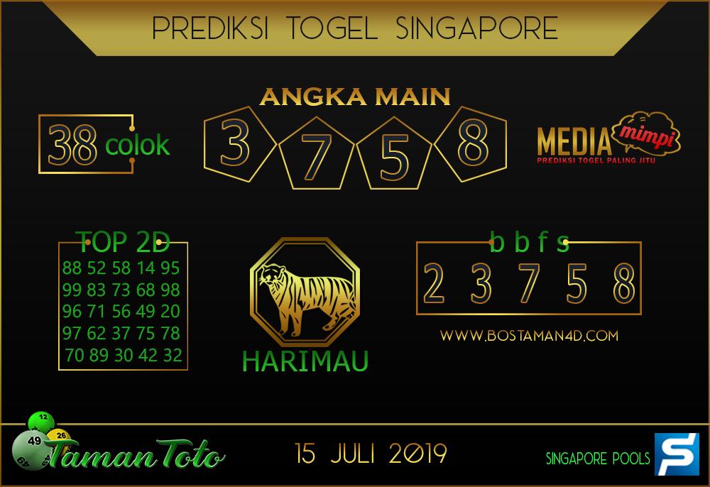 Prediksi Togel SINGAPORE TAMAN TOTO 15 JULI 2019