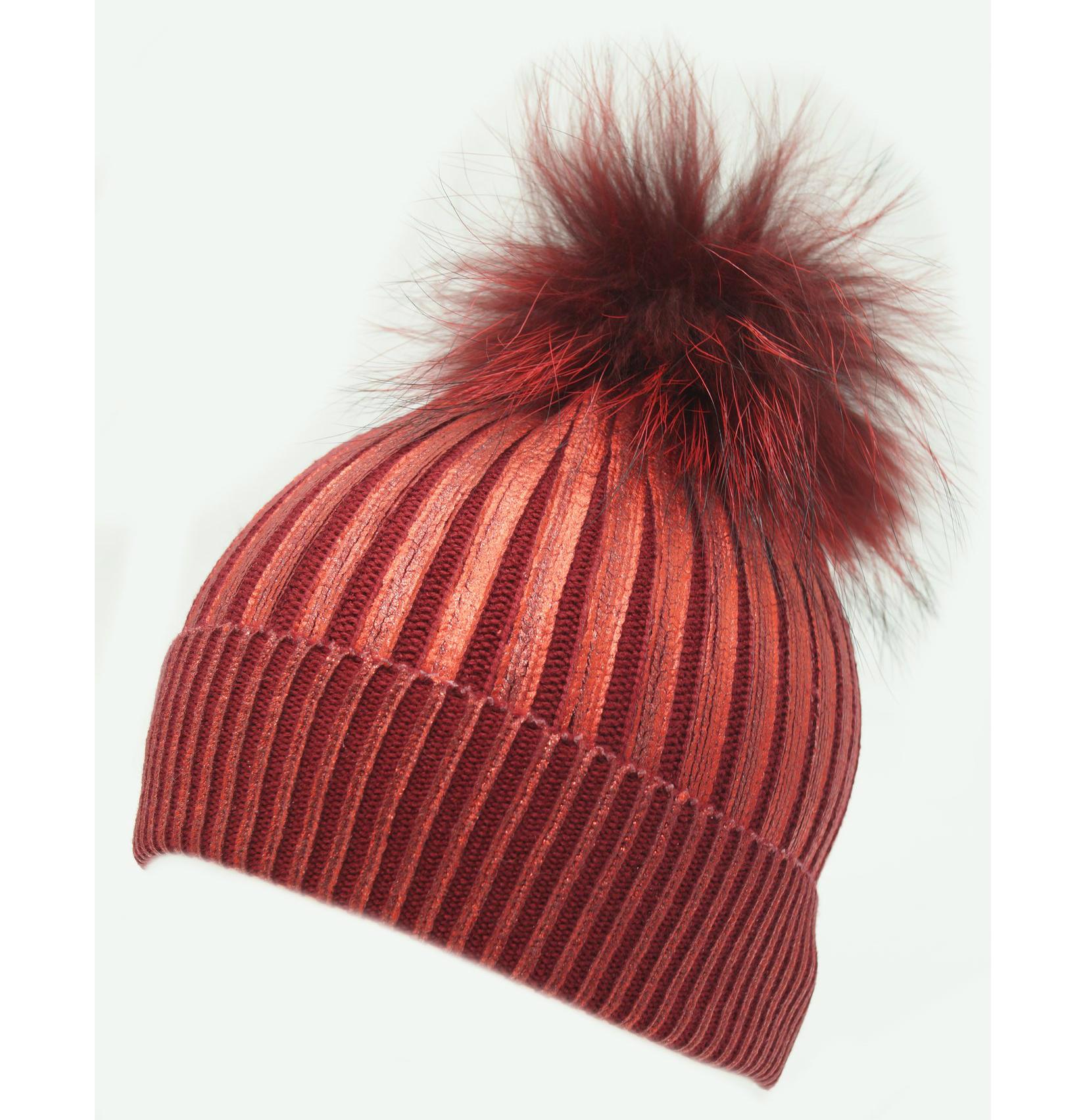 00f5c247b0a New Kids Metallic Winter Hat Shiny Glitter Beanie Pom Pom Large ...