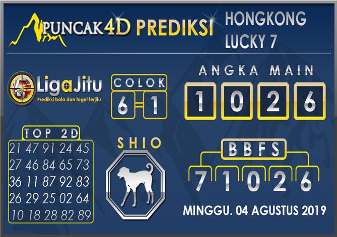 PREDIKSI TOGEL HONGKONG LUCKY7 PUNCAK4D 04 AGUSTUS 2019