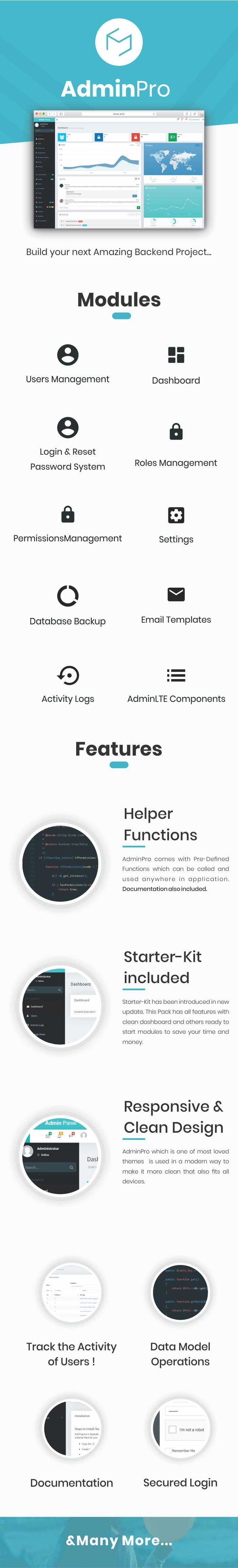 AdminPro - Login + Users & Roles Management + AdminLTE + Codeigniter Download