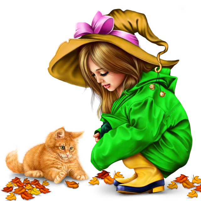 little girl in raincoat with a kitty png 939fbf0da581be1c9.png