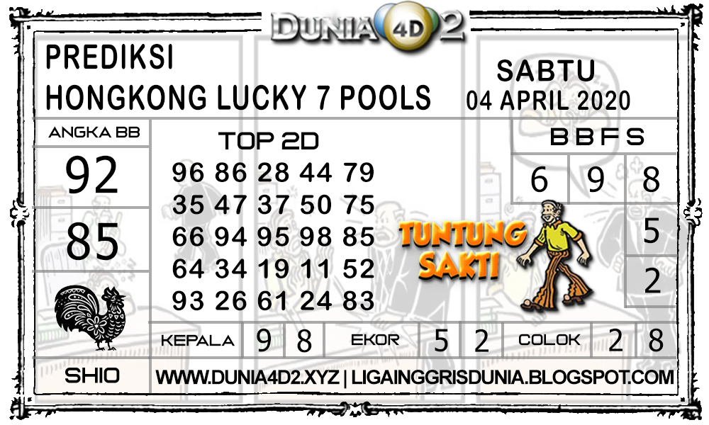 Prediksi Togel HONGKONG LUCKY7 DUNIA4D2 04 APRIL 2020
