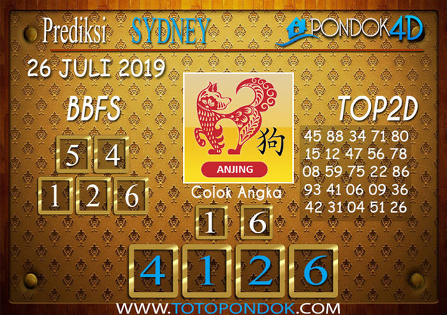Prediksi Togel SYDNEY PONDOK4D 26 JULI 2019