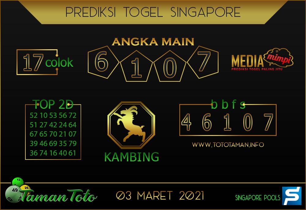 Prediksi Togel SINGAPORE TAMAN TOTO 03 MARET 2021
