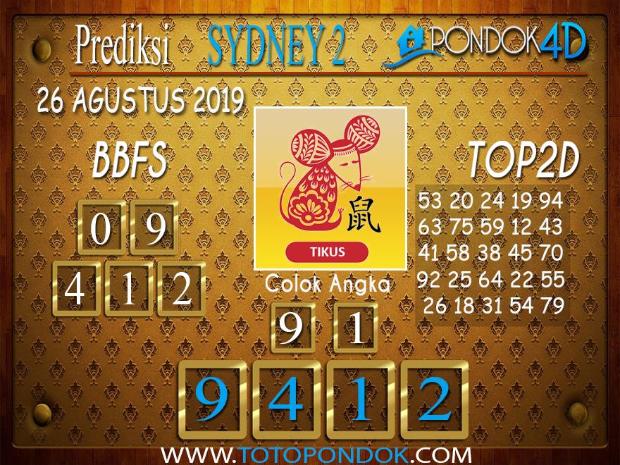Prediksi Togel SYDNEY 2 PONDOK4D 26 AGUSTUS 2019