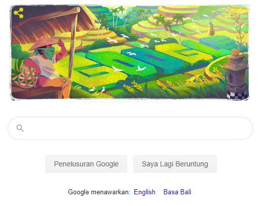 Google Doodle menampilkan ilustrasi Subak, Senin (29/6/2020)