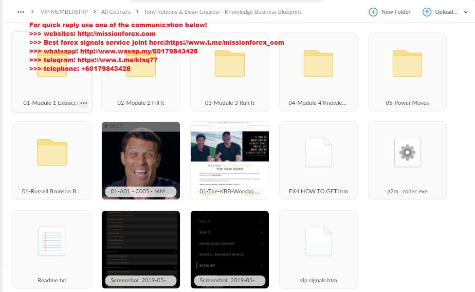 Tony Robbins & Dean Graziosi - Knowledge Business Blueprint (Total size: 36.05 GB Contains: 20 folders 325 files)