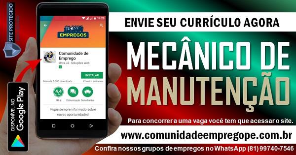 MECÂNICO DE MANUTENÇÃO INDUSTRIAL PARA INDUSTRIA EM JABOATÃO DOS GUARARAPES