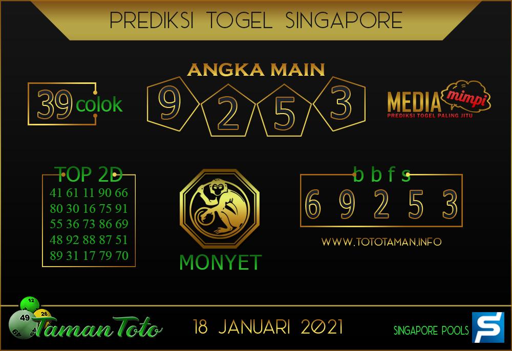 Prediksi Togel SINGAPORE TAMAN TOTO 18 JANUARI 2021