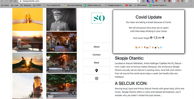 Screen shot from skopje otantic landing page