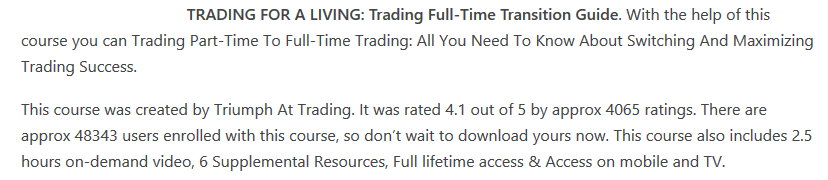 TRADING FOR A LIVING: Trading Full-Time Transition Guide