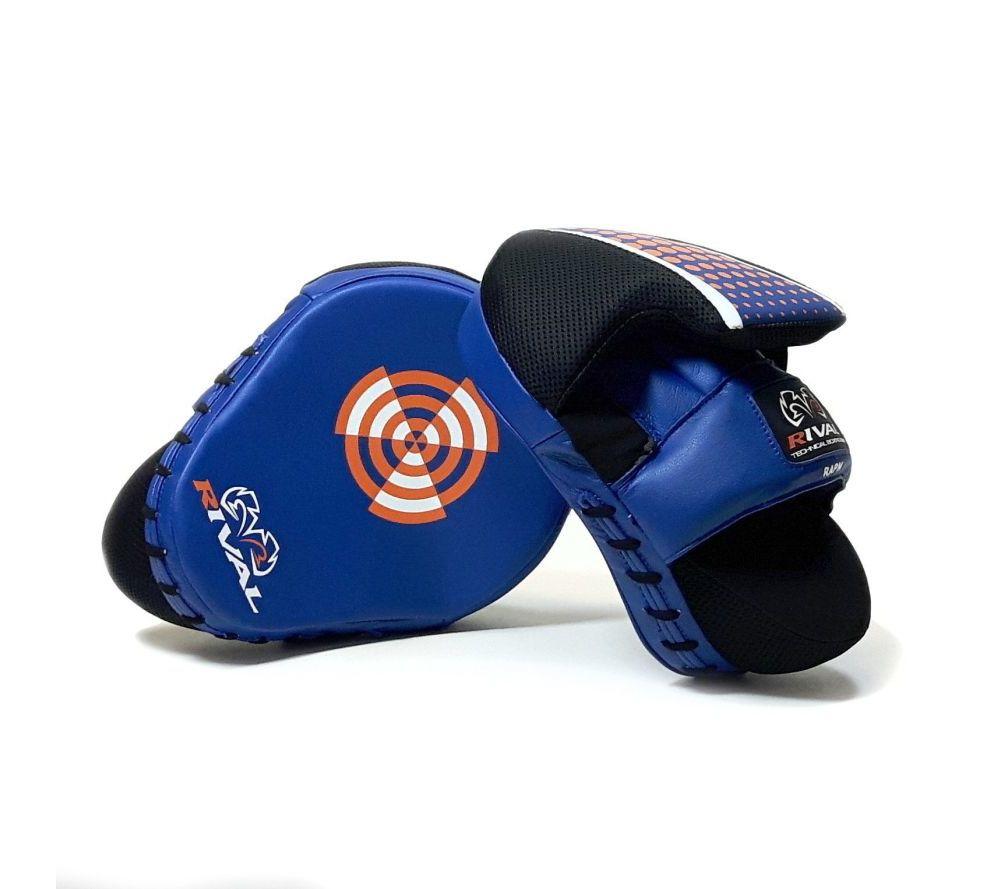 Боксерские лапы Rival Pro Punch Mitts - синие Кожа Оригинал