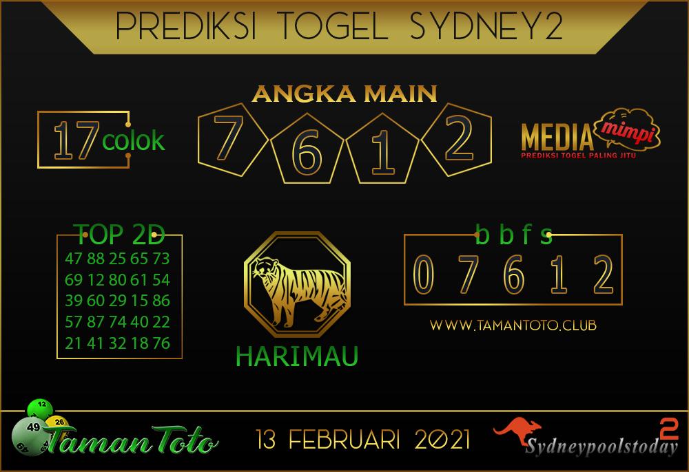 Prediksi Togel SYDNEY 2 TAMAN TOTO 13 FEBRUARI 2021