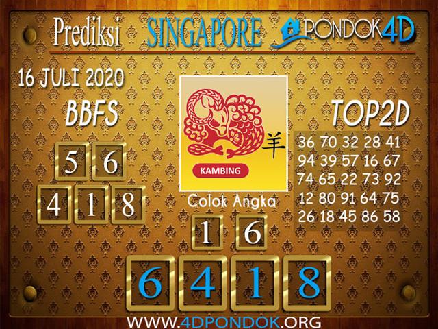Prediksi Togel SINGAPORE PONDOK4D 16 JULI 2020