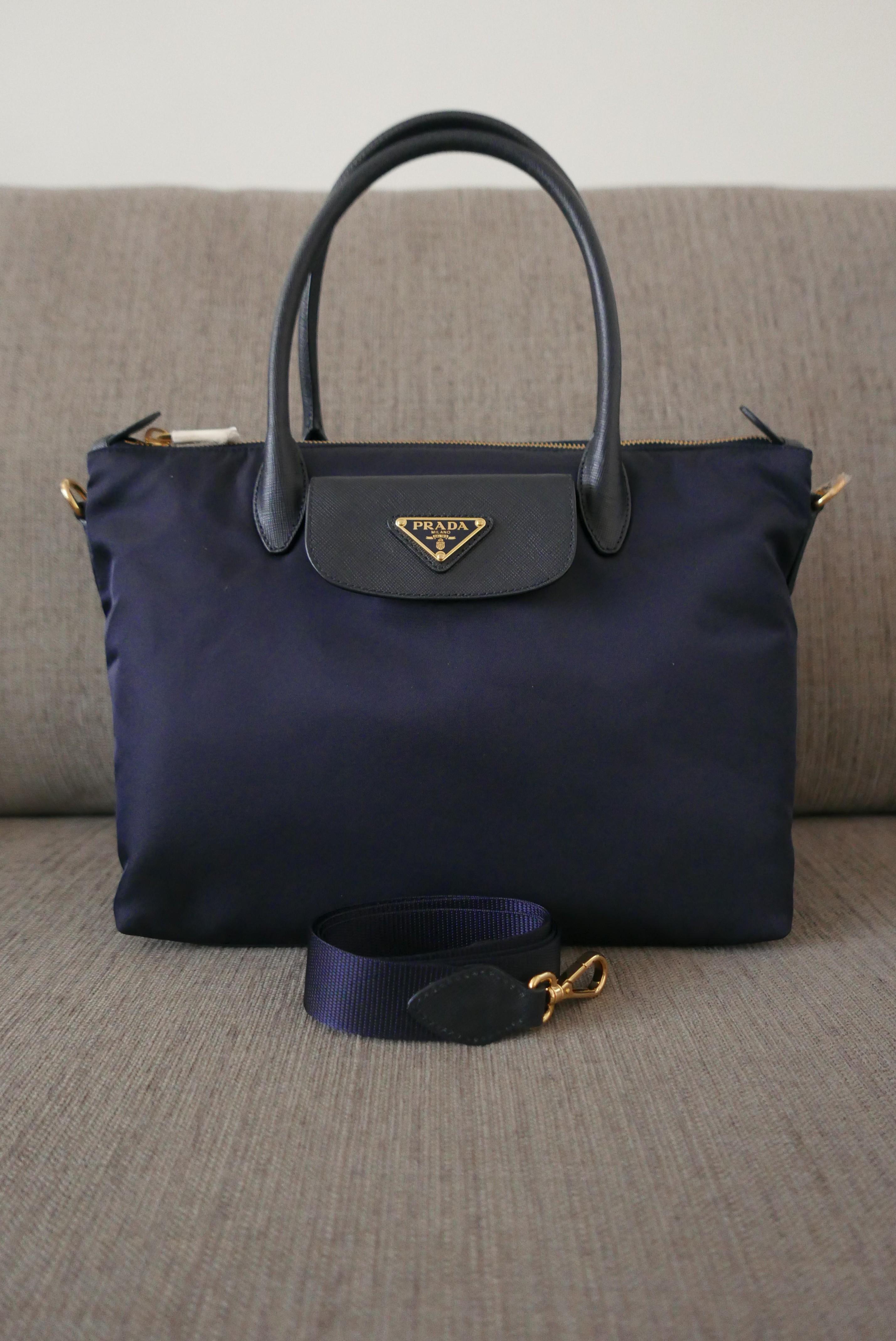 400db3809 Sale! New Auth Prada Tessuto Saffiano Nylon 2Way Bag 1BA106 Bleu ...