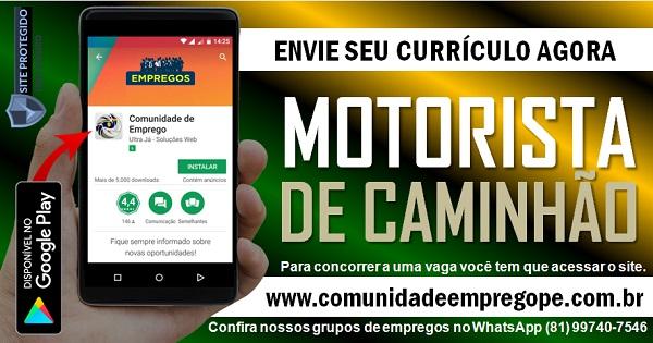 MOTORISTA DE CAMINHÃO, 02 VAGAS PARA EMPRESA DE COLETA DE RESÍDUOS NA GUABIRABA