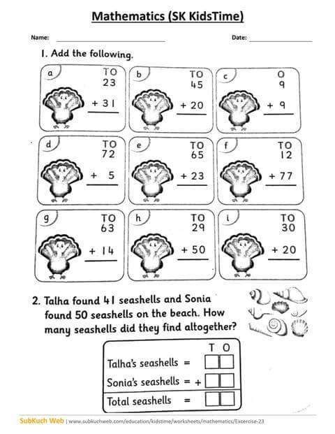 Grade 1 Addition Worksheets, First Grade Math Worksheets Ex No.23
