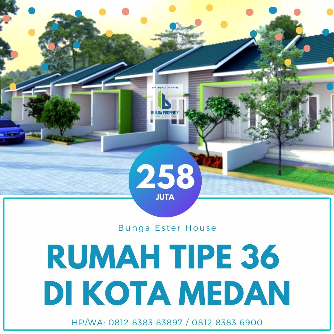 Rumah Murah Tipe 36 Harga 258 Juta di Jl Bunga Ester Padang Bulang dekat kampus USU Medan Bunga Ester House