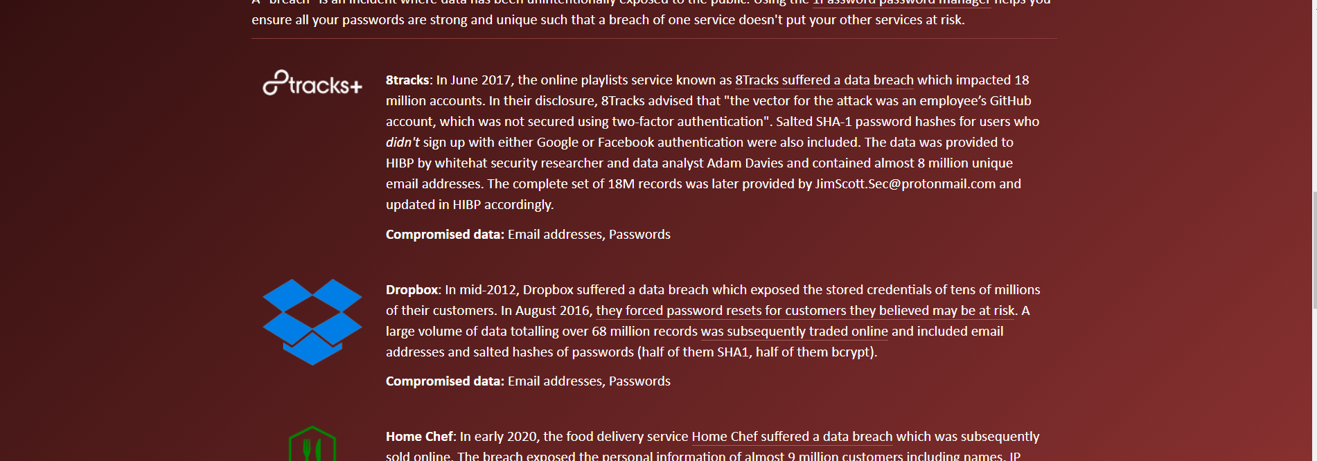sites listed on Have I Been Pwned