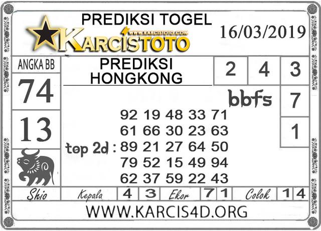 Prediksi Togel HONGKONG KARCISTOTO 16 MARET 2019