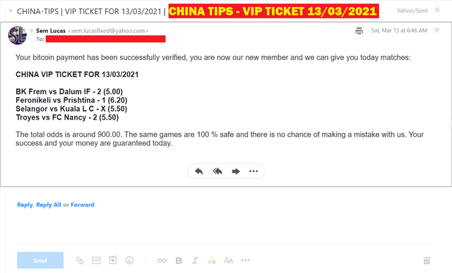 CHINA FOUR COMBINED FIXED MATCHES | VIP TICKET