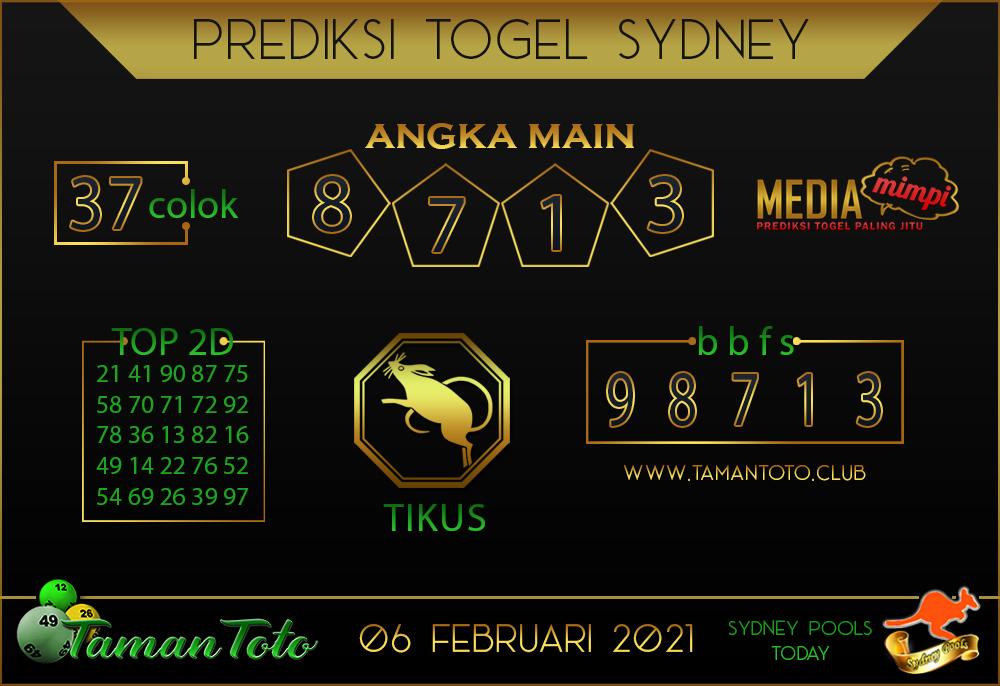 Prediksi Togel SYDNEY TAMAN TOTO 06 FEBRUARI 2021