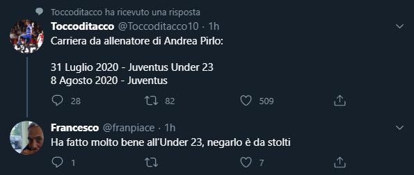 Carriera di allenatore di Andrea Pirlo. 31 luglio 2020 Juventus Under 23, 8 Agosto 2020 Juventus. Ha fatto molto bene all'Under 23, negarlo è da stolti.