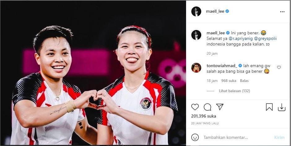 Maell Lee mengunggah foto kemenangan atlet bulutangkis Greysia Polii dan Apriyani Rahayu