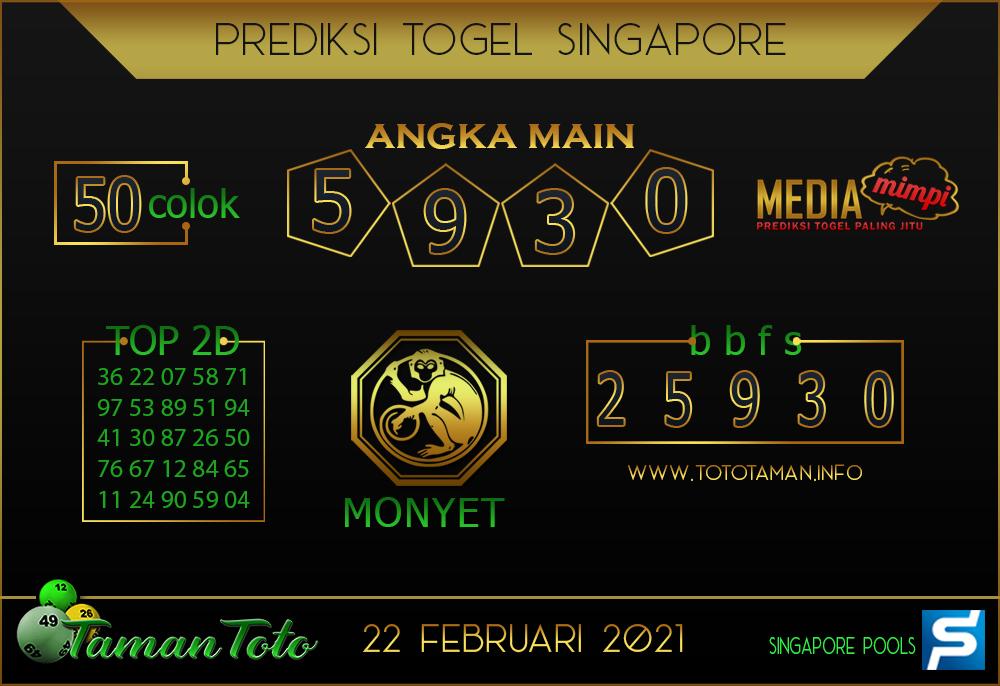 Prediksi Togel SINGAPORE TAMAN TOTO 22 FEBRUARI 2021