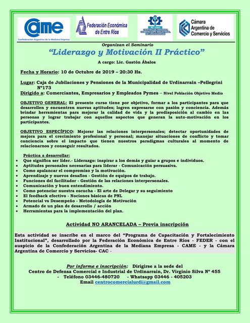"""Sociales: Seminario """"Liderazgo y Motivación II Práctico"""""""
