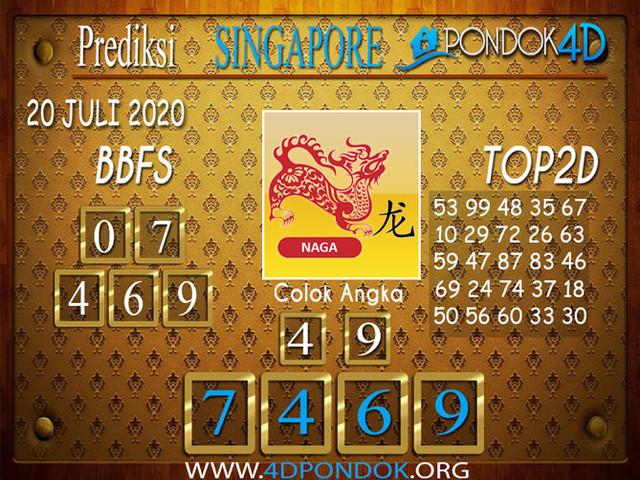 Prediksi Togel SINGAPORE PONDOK4D 20 JULI 2020