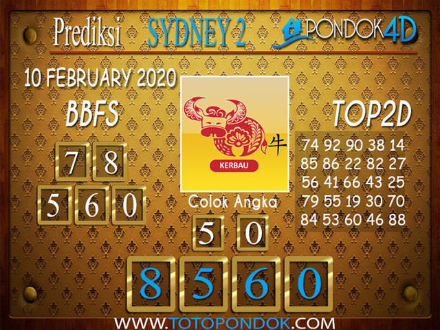 Prediksi Togel SYDNEY 2 PONDOK4D 10 FEBRUARY 2020