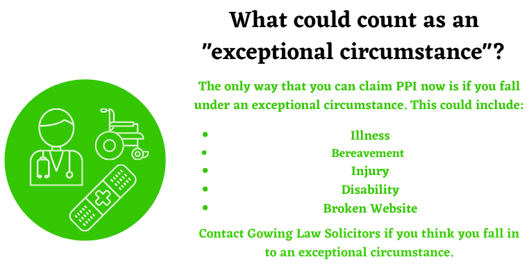 exceptional circumstances PPI tax claim