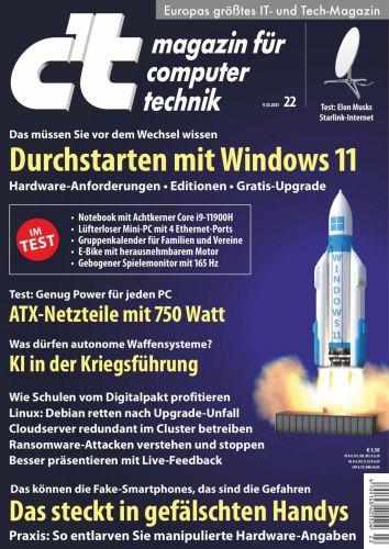 Cover: ct Magazin für Computertechnik No 22 vom 09  Oktober 2021