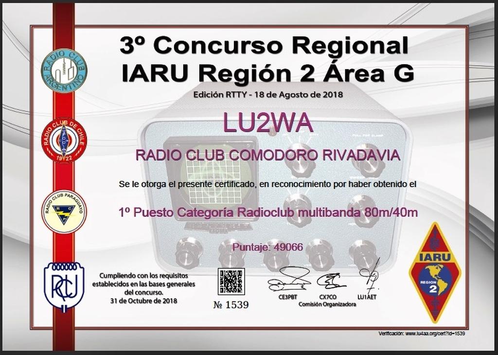 LU2WA 1er. puesto Concurso IARU 2018 RTTY
