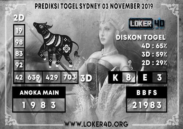 PREDIKSI TOGEL SYDNEY LOKER4D 03 NOVEMBER 2019