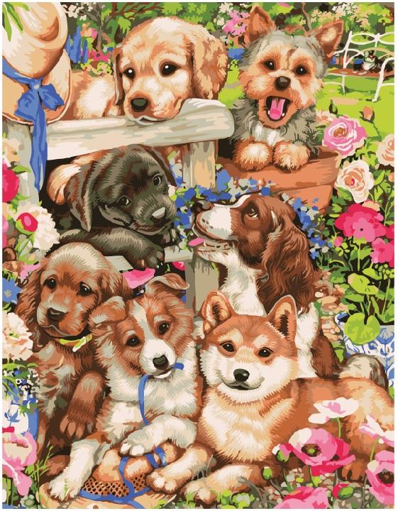 Картина по номерам Озорные щенки GX8728