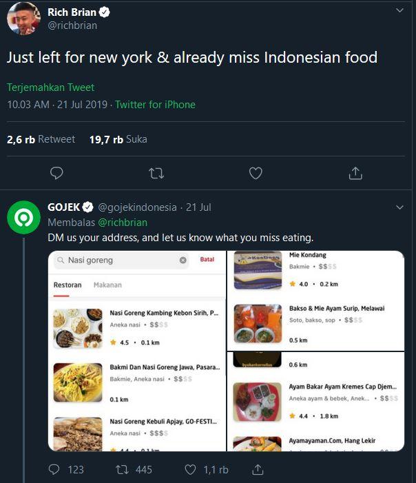 Balasan Gojek Indonesia untuk cuitan Rich Brian