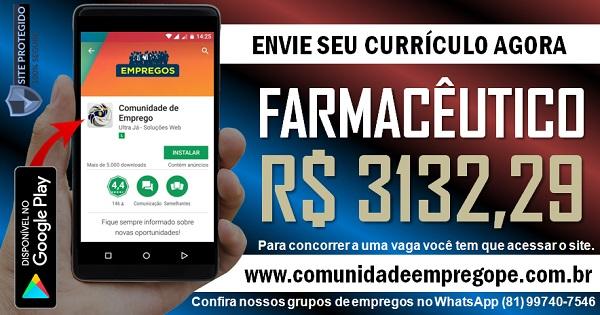 FARMACÊUTICO COM SALÁRIO DE R$ 3132,29 PARA HOSPITAL NO RECIFE