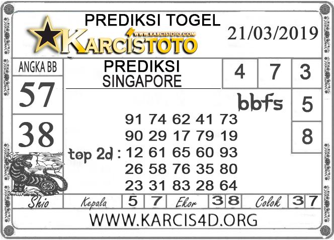 Prediksi Togel SINGAPORE KARCISTOTO 21 MARET 2019