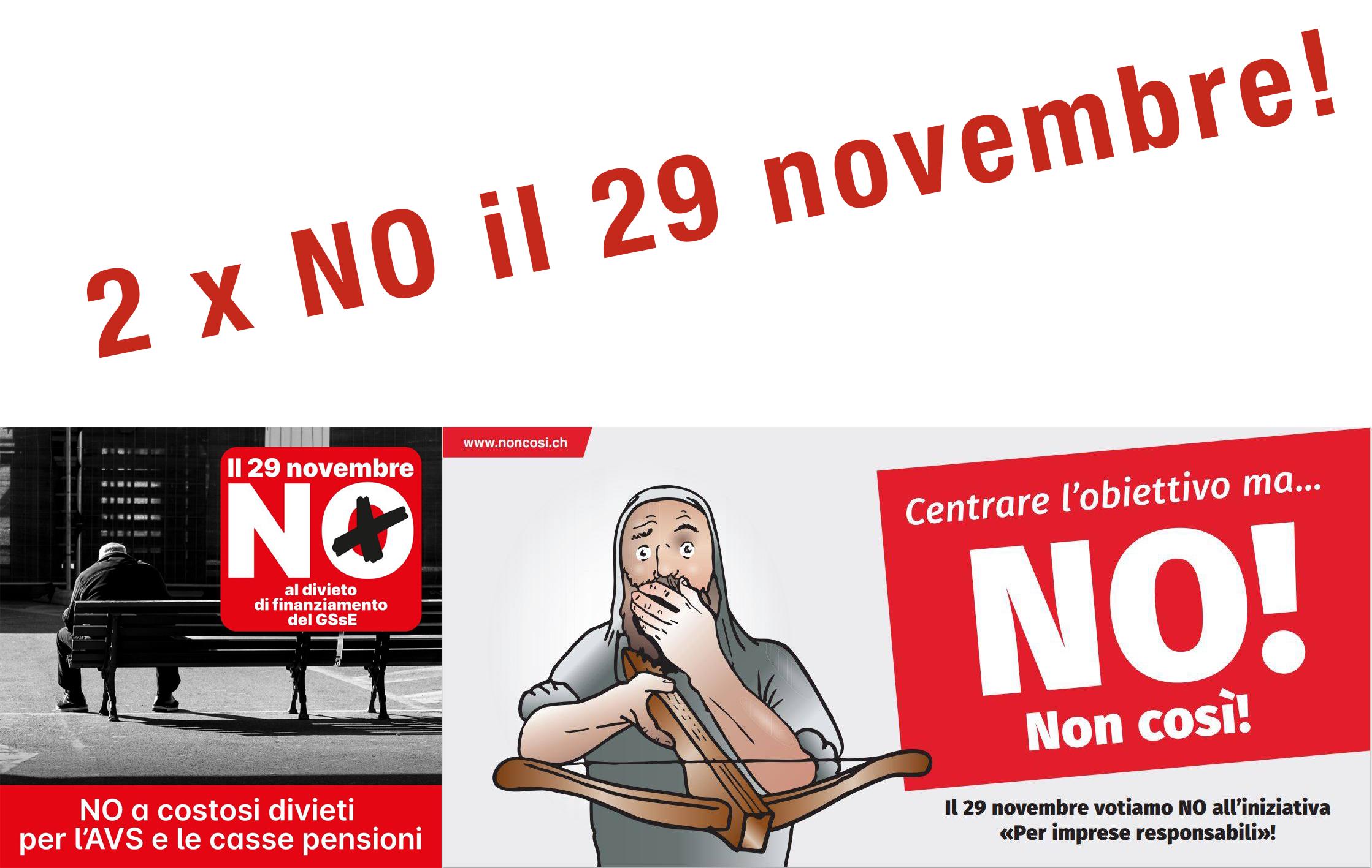 UDF Ticino dice 2 x NO il 29 novembre!