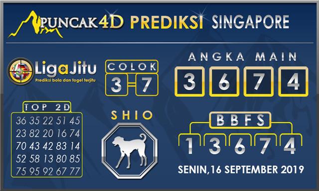 PREDIKSI TOGEL SINGAPORE PUNCAK4D 16SEPTEMBER 2019