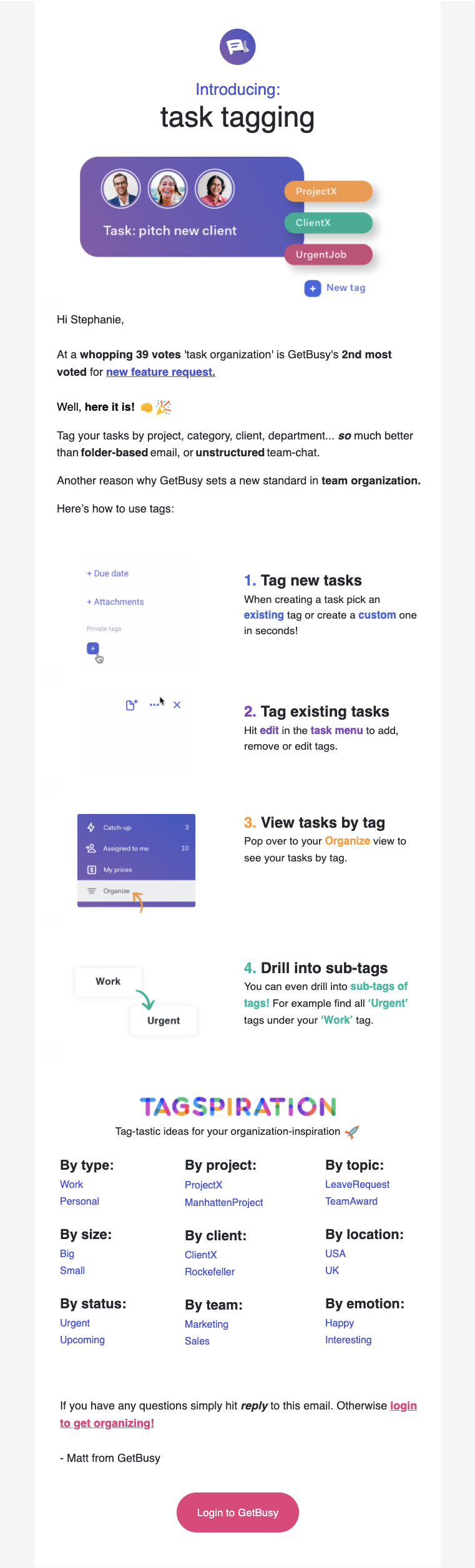 getbusy's product update email