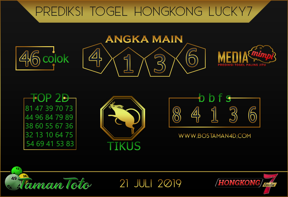 Prediksi Togel HONGKONG LUCKY 7 TAMAN TOTO 21 JULI 2019
