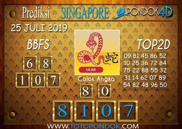 Prediksi Togel SINGAPORE PONDOK4D 25 JULI 2019