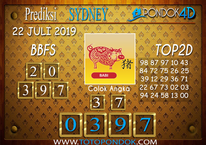 Prediksi Togel SYDNEY PONDOK4D 22 JULI 2019